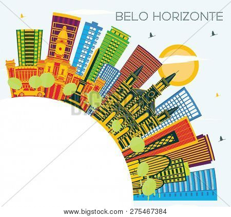 Belo Horizonte Brazil Skyline with Color Buildings, Blue Sky and Copy Space. Business Travel and Tourism Concept with Modern Architecture. Belo Horizonte Cityscape with Landmarks.