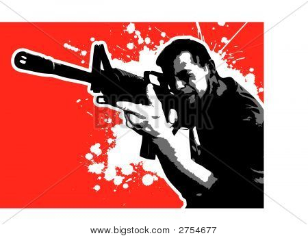 Part Of The Red Series, Man Aiming With An Assault Rifle