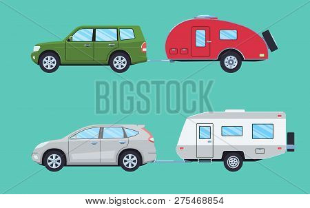 Suv With Camper Trailer. Offroad Car With Camper. Vehicle For Road Travelling. Flat Style. Vector Il