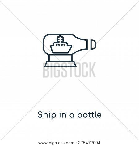 Ship In A Bottle Icon In Trendy Design Style. Ship In A Bottle Icon Isolated On White Background. Sh