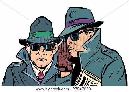 Two Secret Agents Whispering. Comic Cartoon Pop Art Retro Vector Illustration Drawing