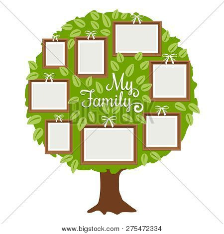 Green Family Tree With Frames For Pictures. My Family Card Template, Vector Illustration