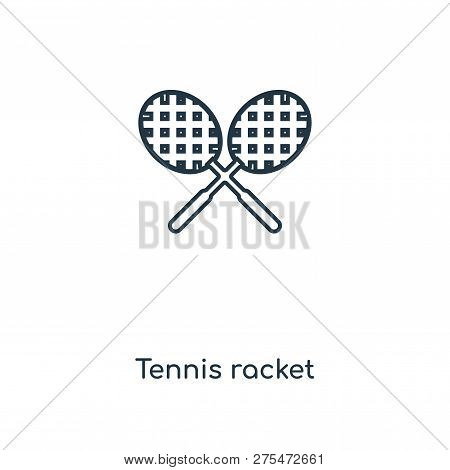Tennis Racket Icon In Trendy Design Style. Tennis Racket Icon Isolated On White Background. Tennis R