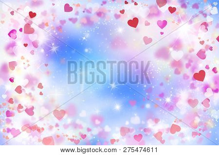 Abstract, Background, Banner Background, Lovely, Blue, Blurred Background Of Red And Pink Hearts, Bo