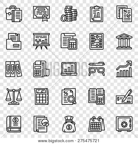 Accounting Icon Set. Outline Set Of Accounting Vector Icons For Web Design