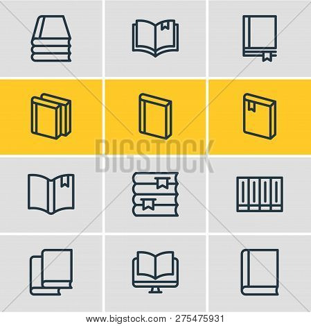 Vector Illustration Of 12 Education Icons Line Style. Editable Set Of Ebook, Bookstore, Tutorial And