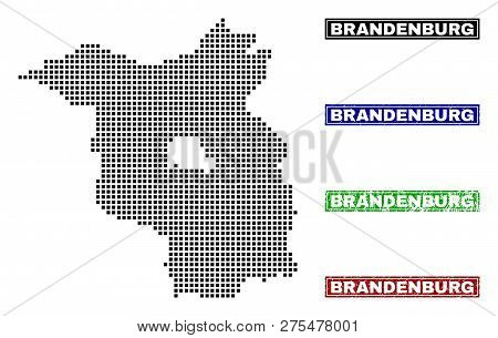 Vector Dot Abstract Brandenburg Land Map And Isolated Clean Black, Grunge Red, Blue, Green Stamp Sea