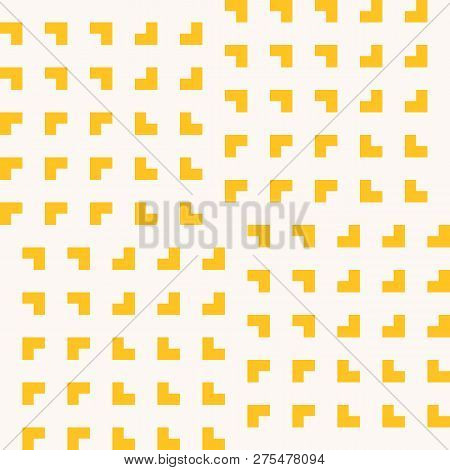 Vector Minimalist Geometric Seamless Pattern With Small Squares, Repeat Tiles. Abstract Yellow And W