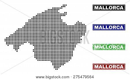 Dot Vector Abstracted Mallorca Map And Isolated Clean Black, Grunge Red, Blue, Green Stamp Seals. Ma