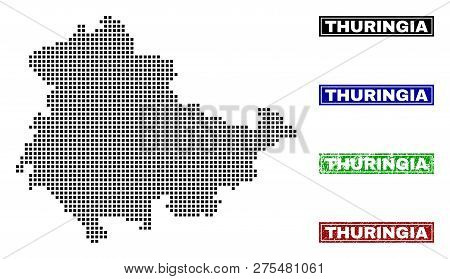 Dot Vector Abstracted Thuringia Land Map And Isolated Clean Black, Grunge Red, Blue, Green Stamp Sea