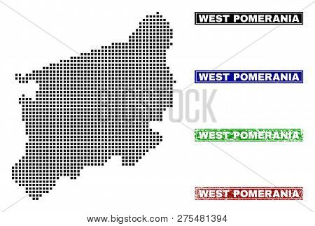 Vector Dot Abstracted West Pomeranian Voivodeship Map And Isolated Clean Black, Grunge Red, Blue, Gr