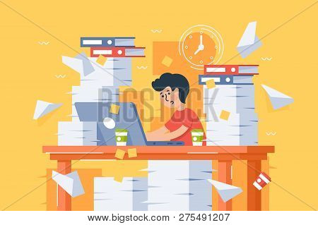 Flat Stressful Busy Young Man Workload At Work. Concept Blockage Tired Employee, Workplace With Pape