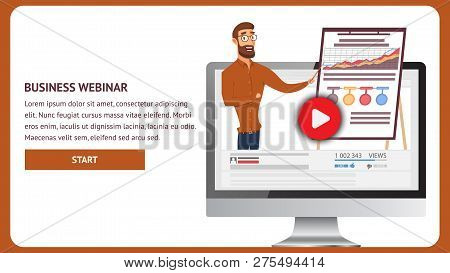 Illustration Broadcast Online Business Webinar. Banner Vector Bearded Man Shows Blackboard Graph Gro