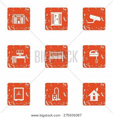 Homecare Icons Set. Grunge Set Of 9 Homecare Icons For Web Isolated On White Background