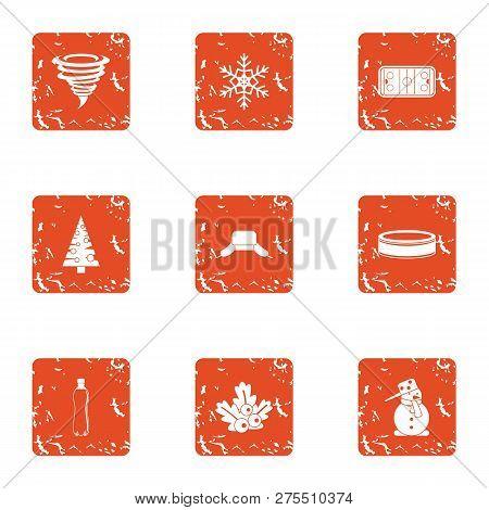Hurricane Mood Icons Set. Grunge Set Of 9 Hurricane Mood Icons For Web Isolated On White Background