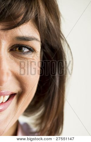 Spontaneous Woman Smile, half face