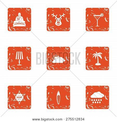Tranquillity Icons Set. Grunge Set Of 9 Tranquillity Icons For Web Isolated On White Background