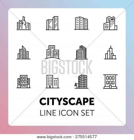 Cityscape Line Icon Set. Set Of Line Icons On White Background. Architecture Concept. Building, Skys