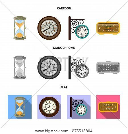 Vector Design Of Clock And Time Sign. Set Of Clock And Circle Stock Vector Illustration.
