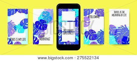 Stories Template Design. Tropic Leaves Background. Photo Frame Summer Concept For Social Media Stori