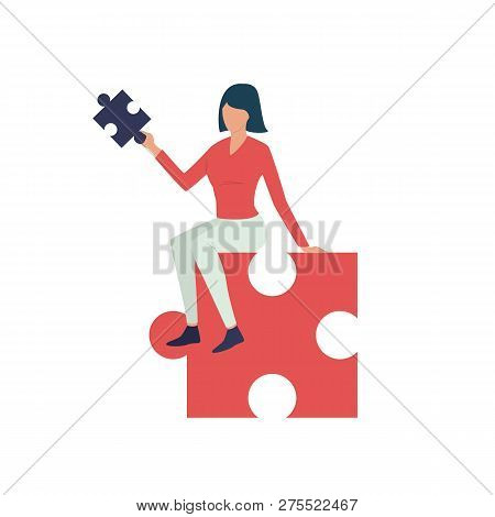 Woman Sitting On Piece Of Puzzle Flat Icon. Jigsaw, Manager, Task Solution. Vector Illustration Can