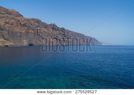 Vertical Cliffs Acantilados De Los Gigantes (cliffs Of The Giants). View From Cape Teno (punta De Te