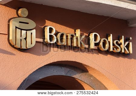 WARSAW, POLAND - SEPTEMBER 21, 2018: Label of Bank Polski above the branch office of this bank. The PKO Bank Polski Group is one of the largest financial institutions in Poland