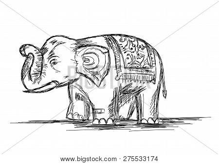 Pet Indian Elephant Line Art Vector Illustration