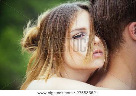 Cute Man And Woman Are Dating. Love And Tenderness. Romantic Couple Embrace. Valentines Day. Date Of