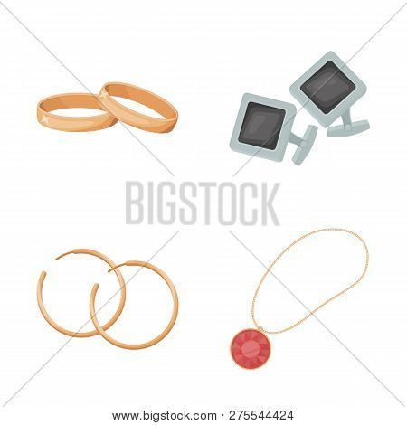 Vector illustration of jewelery and necklace sign. Collection of jewelery and pendent stock vector illustration. poster