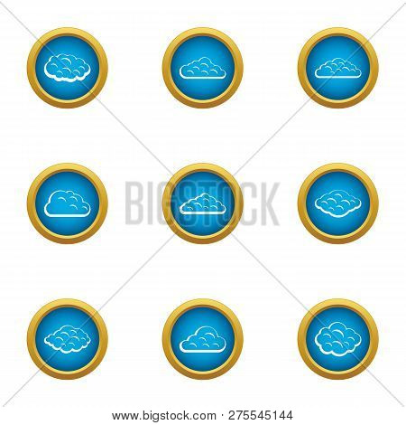 Heavenly Cloud Icons Set. Flat Set Of 9 Heavenly Cloud Icons For Web Isolated On White Background