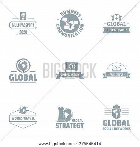 Global Businessman Logo Set. Simple Set Of 9 Global Businessman Logo For Web Isolated On White Backg