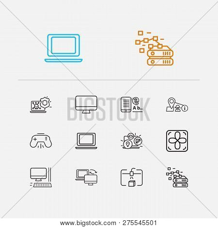 Electronics Icons Set. Antivirus And Electronics Icons With Machine To Machine, Database And Steamro