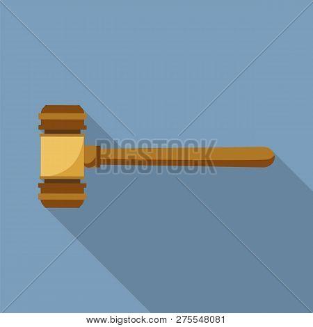 Judge Wood Hammer Icon. Flat Illustration Of Judge Wood Hammer Icon For Web Design