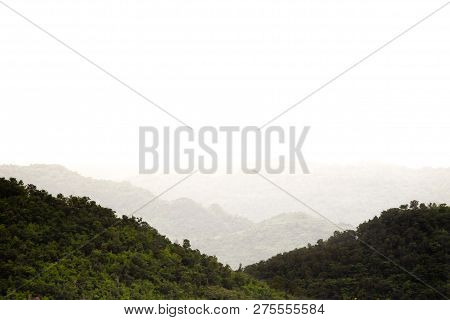 Landscape Of Mountain While A Lot Of Foggy.
