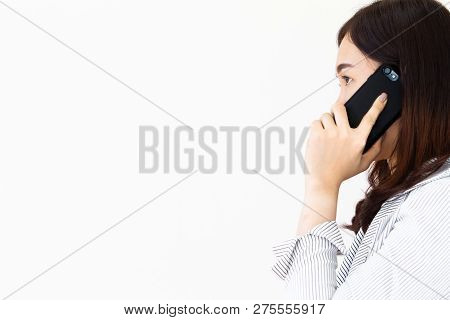 Asian Business Women Talking On Her Smartphone With Copy Space On Left Side Close Up.