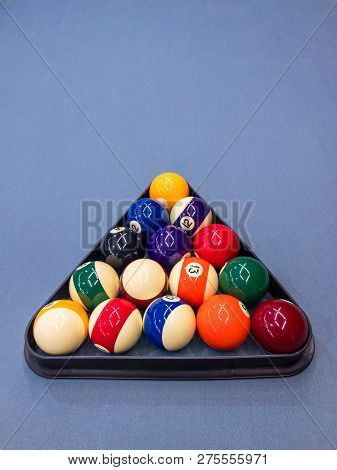 Snooker Balls Set In Triangle Before The Game.