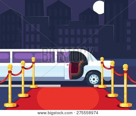 Empty Red Event Carpet With Rope Barrier. Luxury Ride Limousine With Opened Door On Cityscape Backgr