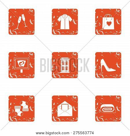 Christmastime Icons Set. Grunge Set Of 9 Christmastime Icons For Web Isolated On White Background