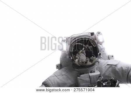 Single Space Astronaut With Black Glas And Reflection Of Spaceship On The Helmet Isolated On White B