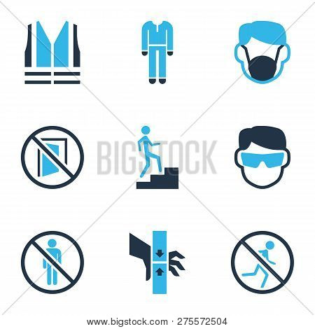 Protection Icons Colored Set With Dust Mask, Keep Door Closed, Protective Clothing And Other Injury