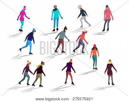 Crowd Of People Skating On Ice Rink Outdoor Activities. Group Of Male And Female Flat Cartoon Charac