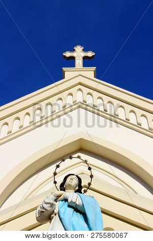Immaculate Concepcion Cathedral In Puerto Princesa, Palawan Island Of The Philippines. Popular Touri