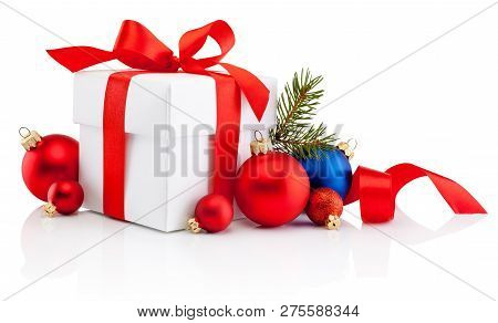 White Gift Box Tied Red Ribbon Bow And Christmas Bauble Isolated On White Background