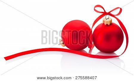 Two Red Christmas Bauble With Ribbon Bow Isolated On White Background
