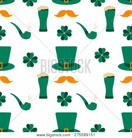Seamless Pattern St. Patrick's Day. Irish Vector