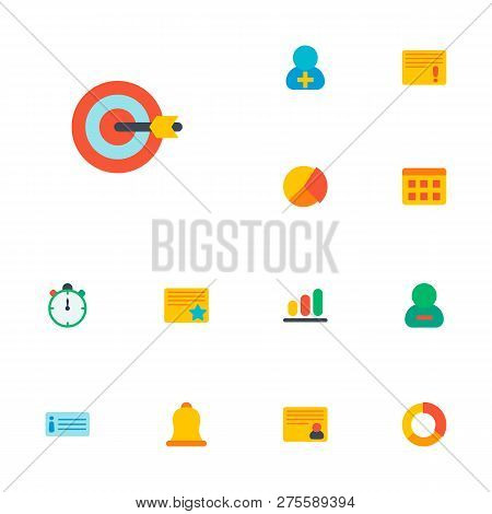 Set Of Task Manager Icons Flat Style Symbols With Important Task, Description, Starred Task And Othe
