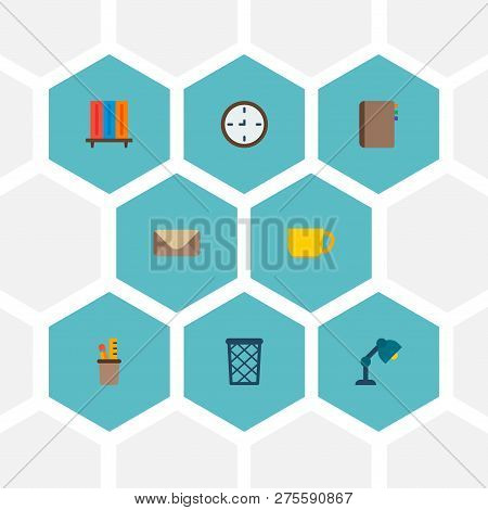 Set Of Office Icons Flat Style Symbols With Wastebasket, Pencil Stand, Cup Icons For Your Web Mobile