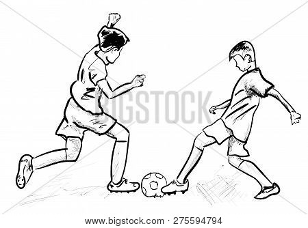 A Two Boys Plaing Soccer Every Day
