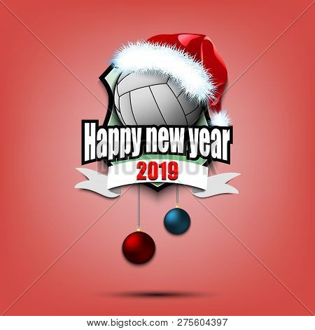 Happy New Year. Volleyball Logo Template Design. Volleyball Ball With Santa Hat. Pattern For Banner,